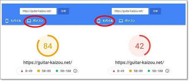 [改善前]PageSpeed Insightsの結果