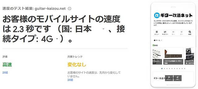 Google Test My Siteでの計測結果(ハイスピードプラン移行後)