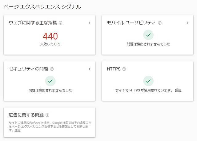 Googleのサーチコンソールにあるページエクスペリエンス・シグナルのウェブに関する主な指標の数値が悪化