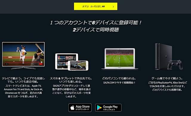 AZN(ダゾーン)に加入すると、1つのアカウントで6デバイス(TV、スマホ、タブレット、PC、ゲーム機など)で視聴可能で、2つデバイスで同時視聴できます。